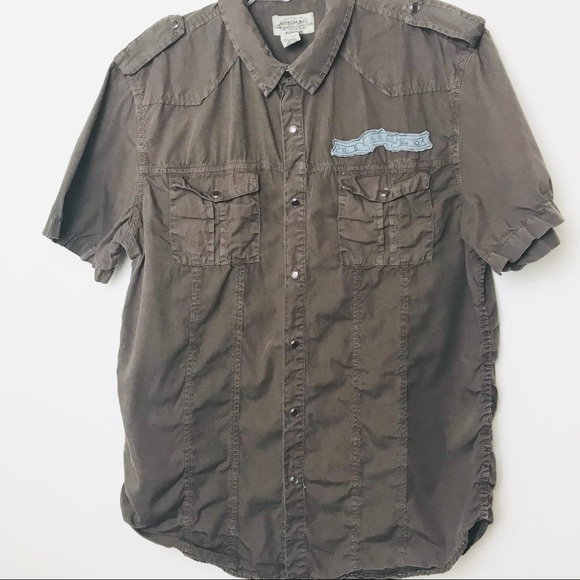 American Rag Other - Brown Men Button up Shirt w cool details A05